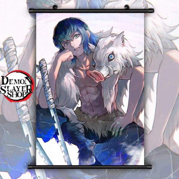 Demon Slayer Wall Scroll  Inosuke without Mask 20x30cm Official Demon Slayer Merch